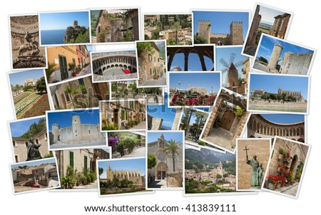 Cities of Mallorca in collage with several shots - stock photo