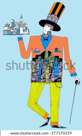 citizen illustration of a man with a large hat and a cane and a town landscape inside his body , the mayor of the city, the architect, the owner, the rich man, mister time - stock photo
