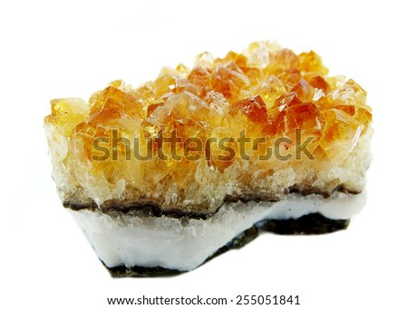 citrine natural quartz semigem geode crystals geological mineral isolated  - stock photo
