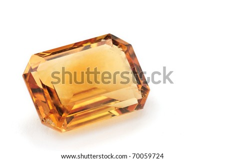citrine, yellow quarz Jewel isolated against a white background - stock photo