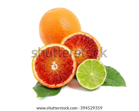 Citrus. Citrus fruits with green leaves. Citrus fruits isolated on white background. Healthy citrus fruits. Citrus fruits - red orange and lime.  - stock photo