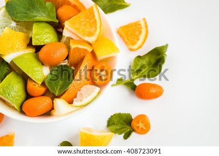 Citrus, citrus salad, citrus fruits, citrus salad on white background, citrus salad close-up - stock photo