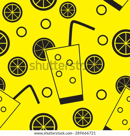 Citrus Cocktail Seamless Pattern Background  Illustration  - stock photo