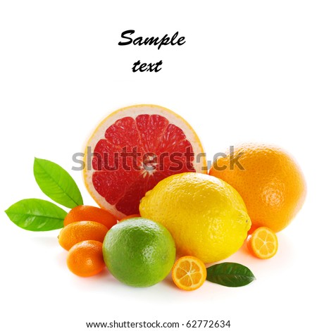 Citrus fresh fruit isolated on a white background (with sample text) - stock photo
