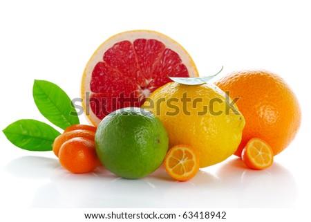 Citrus fresh fruit isolated on white background( kumquat, lemon, lime,orange, grapefruit) - stock photo