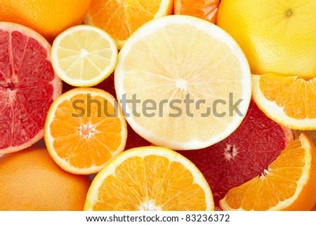 Citrus fruit background - stock photo