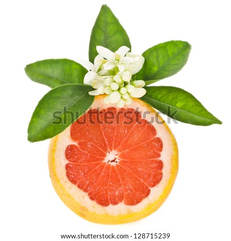 citrus fruit - grapefruit cut off from the side, decorated with flowers and leaves isolated on white background - stock photo