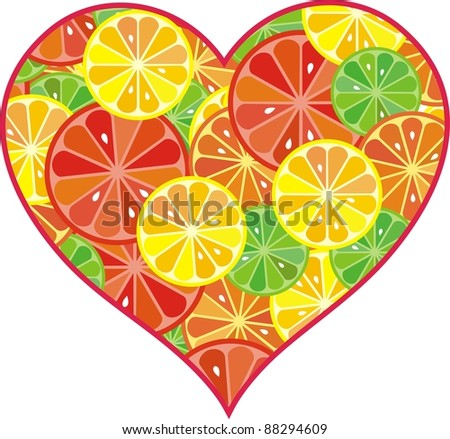 citrus fruit heart isolated on white background.  illustration