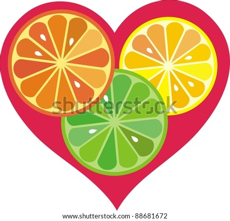 citrus fruit heart. Isolated on white background.  illustration