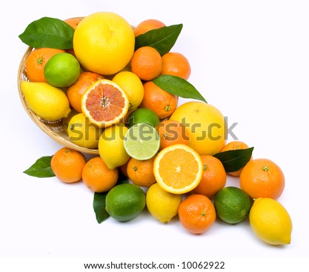 Citrus fruit isolated on white