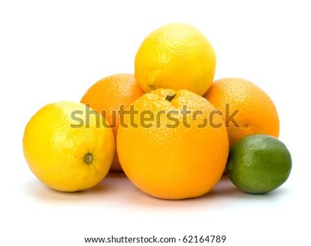 Citrus fruits isolated on white background - stock photo