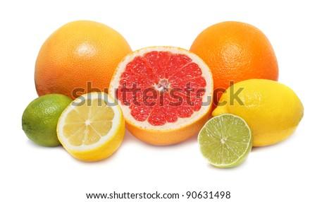 Citrus fruits (lemon, lime, orange and grapefruit) isolated on white background with shadows - stock photo