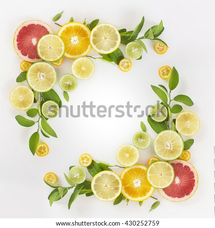 Citrus fruits ornament frame on white background.