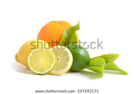 Citrus fruits with green leaves  isolated on white background, - orange, lime and lemon.