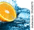 citrus in water - stock photo