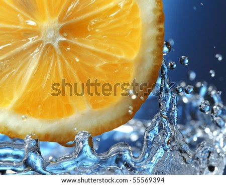 citrus in water - stock photo