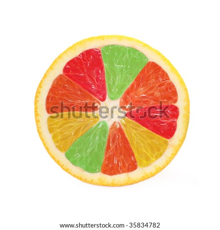 Citrus jigsaw, isolated on white