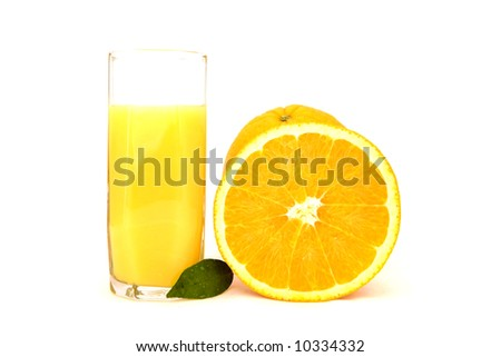 Citrus Juice with Fresh Orange and Leaf