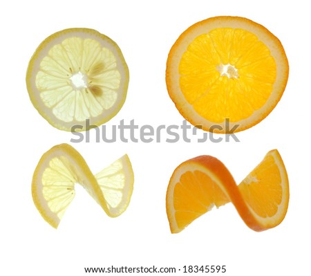 Citrus Lemon and Orange Slices - stock photo