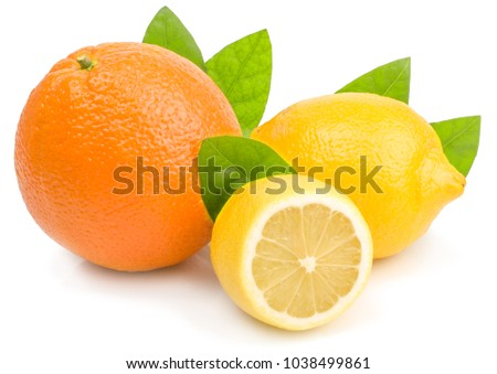 citrus (lemon, orange) - isolated on white background