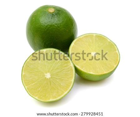 Citrus lime fruit segment isolated on white background - stock photo