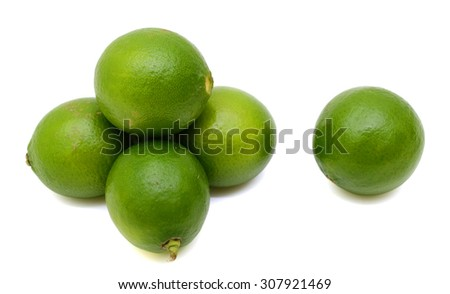 Citrus lime fruit segment isolated on white background