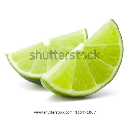 Citrus lime fruit segment isolated on white background cutout - stock photo