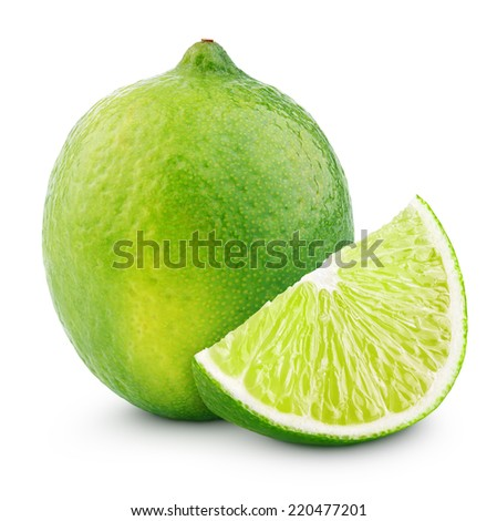 Citrus lime fruit with slice isolated on white background with clipping path - stock photo