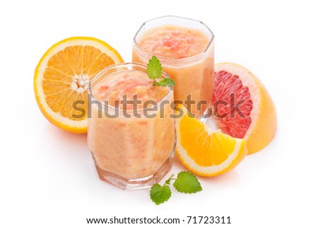 citrus moothie with orange and grapefruit - stock photo