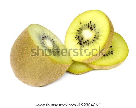 citrus orange and kiwi on white background