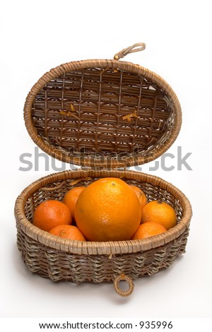 Citrus plants in a basket - stock photo