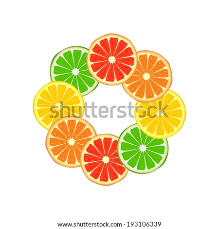 Citrus ring made of grapefruit, orange, lemon and lime slices