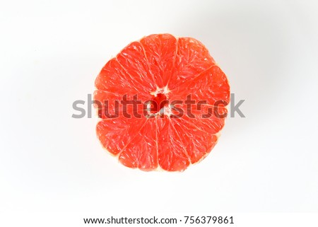 citrus ruby red grapefruit slice on white background