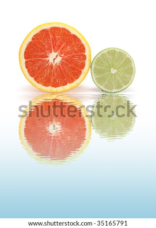 Citruses with water reflection