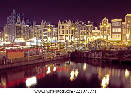 Citsycsenic from Amsterdam in the Netherlands by night - stock photo
