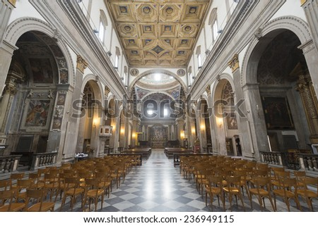 CITTA DI CASTELLO, ITALY - JULY 21, 2014: interior of the historic cathedral, built between 7th and 16th century - stock photo