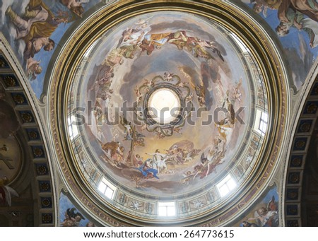 CITTA DI CASTELLO, ITALY - JULY 21, 2014: interior of the historic cathedral, built between 7th and 16th century. Dome - stock photo