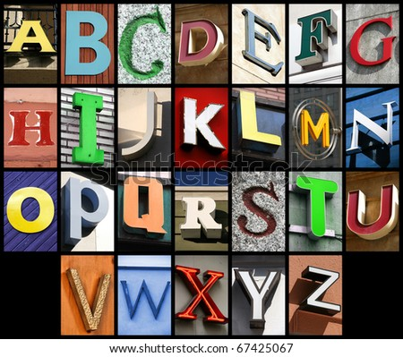 City ABC - alphabet collage. Colorful letters font from urban buildings.