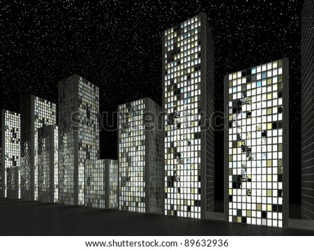 City: Abstract skyscrapers and starry sky at night - stock photo