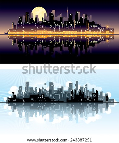 City. Abstract urban silhouettes of skyscrapers on night and day background.