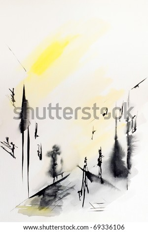 City abstraction with houses windows and passers-by drawn by ink and water color colors on a water color paper - stock photo