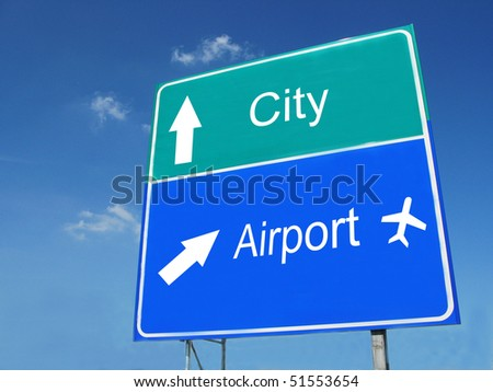 CITY-AIRPORT road sign - stock photo