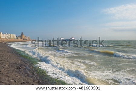 City along a sea in summer
