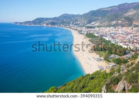 city and Cleopatra beach, Alanya, Turkey - stock photo