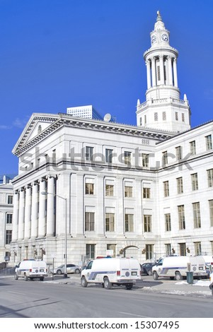 City and county courthouse with old architecture and pillars - stock photo
