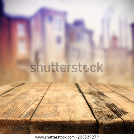 city and table of retro chic space  - stock photo