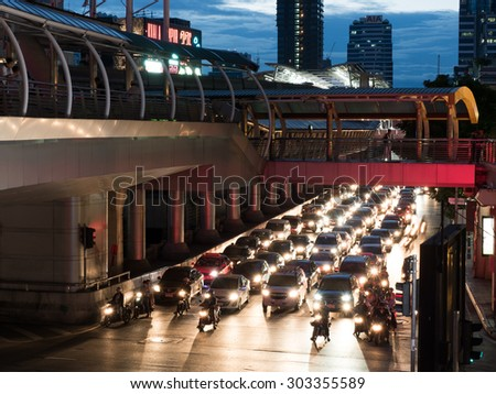 City and traffic in Sathorn, Bangkok
