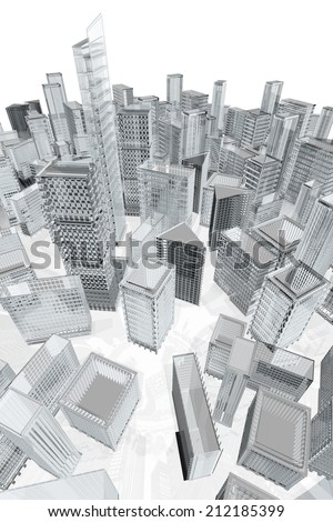 City architecture 3d model - stock photo