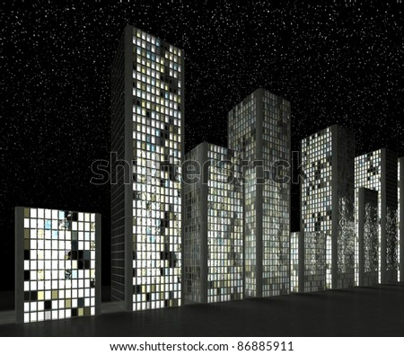 City at night: Abstract skyscrapers and starry sky - stock photo