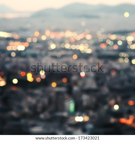 City at night,bokeh background. - stock photo